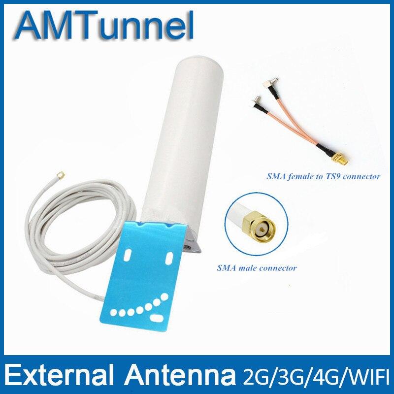 4G LTE antenne 3G antenne 4G externe antennna SMA mâle avec 5 m câble et SMA femelle à TS9 connecteur pour 3G 4G routeur modem