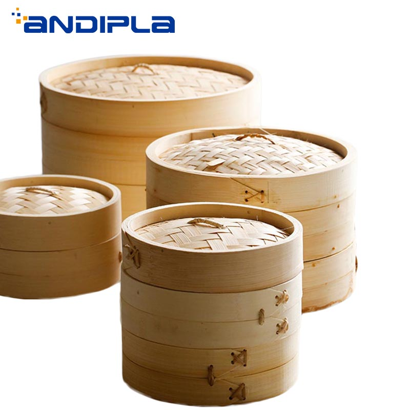 Handmade Natural Bamboo Steamer Buns Dumplings Steamed Bread Steamers Rice Vegetable Fish Snack Cooking Tool Kitchen Accessories