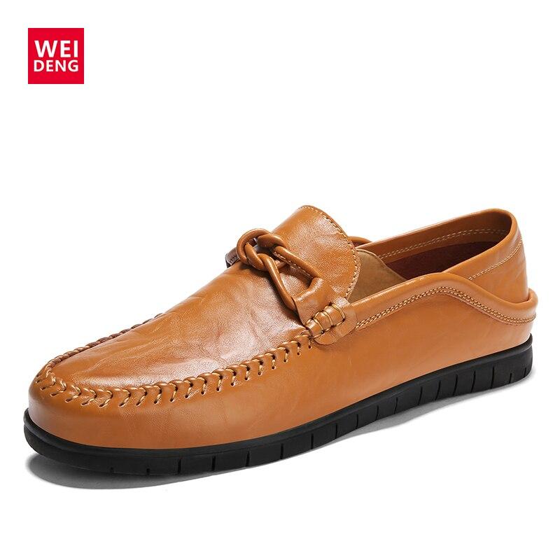Casual De Homme Hombre Conduite Mocassins Chaussures Véritable Mocassin black Sapato Brown Zapatillas Weideng Hommes Masculino Cuir T7nqOPcvBW