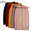 Knitted Skirt High Quality Autumn winter Casual Women High Waist Knee-length Knitted Pencil Skirt Elegant slim Skirts midi jupe