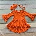 Девушки Зима и Осень платье детей платье новорожденных девочек Asymmertrical платье orange твердые хлопка одежды flare с длинным рукавом платье