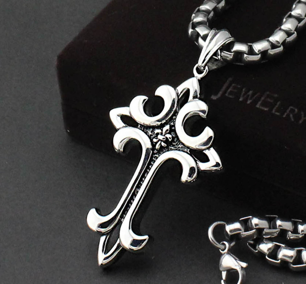 Men's Biker Silver Black 316L Stainless Steel Huge Big Cross Pendant  Necklace + huge Cool Box Chain-in Pendant Necklaces from Jewelry &  Accessories on ...