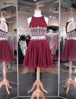 Сексуальные бордовые шифоновые платья для выпускного платья vestidos cortos
