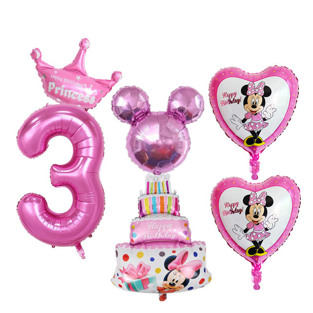 Outstanding 6Pcs Kids 3Rd Birthday Party Decoration Foil Balloons Number 3 Birthday Cards Printable Inklcafe Filternl