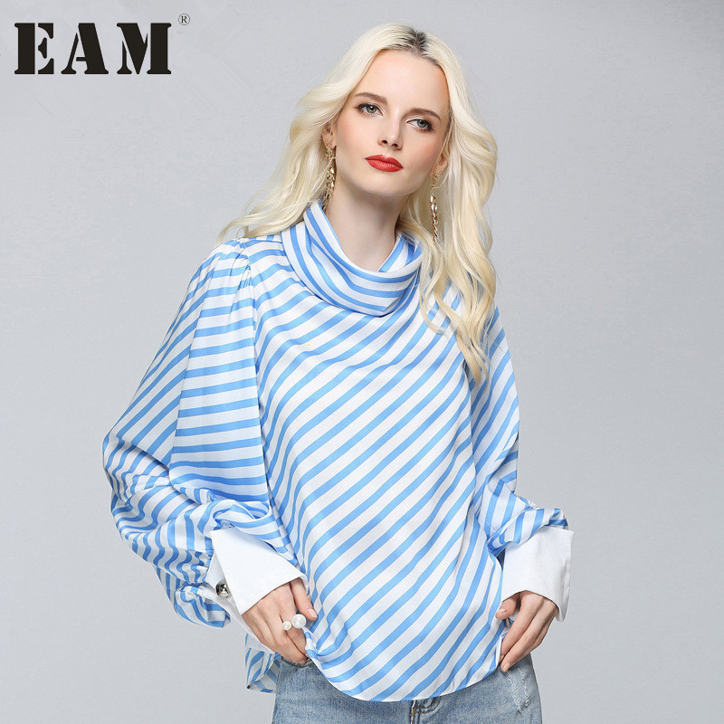 [EAM] 2017 Temperament Blue And White Striped Shirt Fashion Scarf Collar Casual Loose Long Sleeves Shirt Woman G00305S