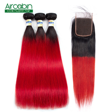 Straight Hair Bundles With Closure 1B Red Brazilian Hair Weave Straight Bundles With Closure Human Hair Extensions Non-Remy
