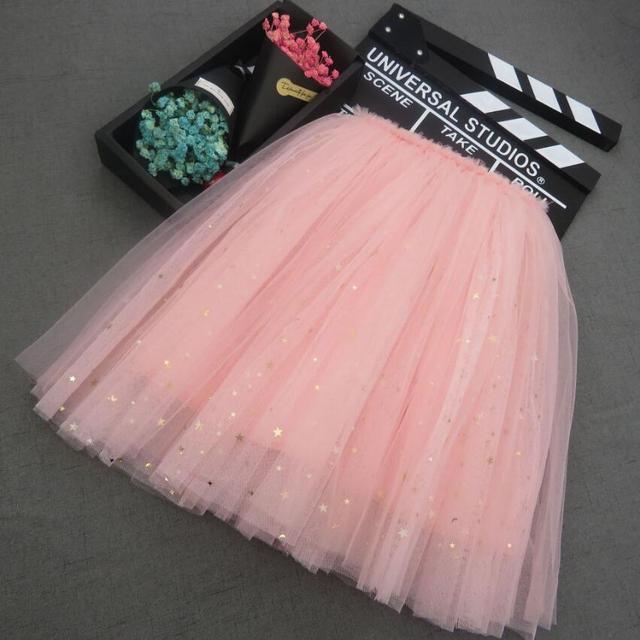 2019 Shiny Stars Summer Girls Fashion Fluffy Twinkling Stars Tutu Skirt Shiny Princess Party Tulle Skirts Girls Clothing Kids
