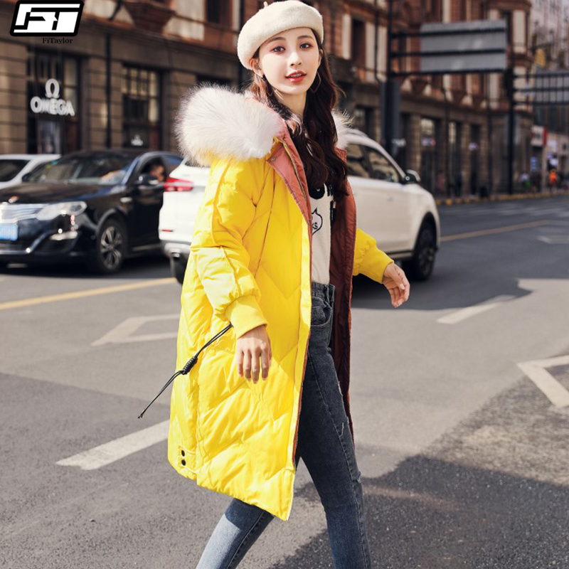 Fitaylor Winter Women   Down   Long Jacket Hooded Real Large Fur White Duck   Down     Coat   Female Zipper Slim Overcoat