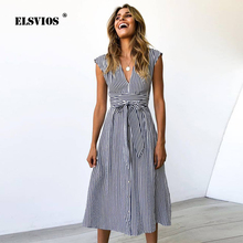 ELSVIOS 2019 Summer Spring Sexy V-neck Button Striped Dress Women Casual Knee-Length Sleeveless Lace Up Bow A-Line Dress vestido