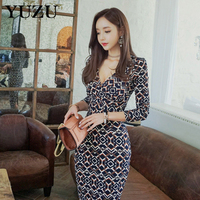 Bodycon Maxi Dress Winter Fashion Sexy V Neck Long Sleeve Split Hem Office Party Dresses Women