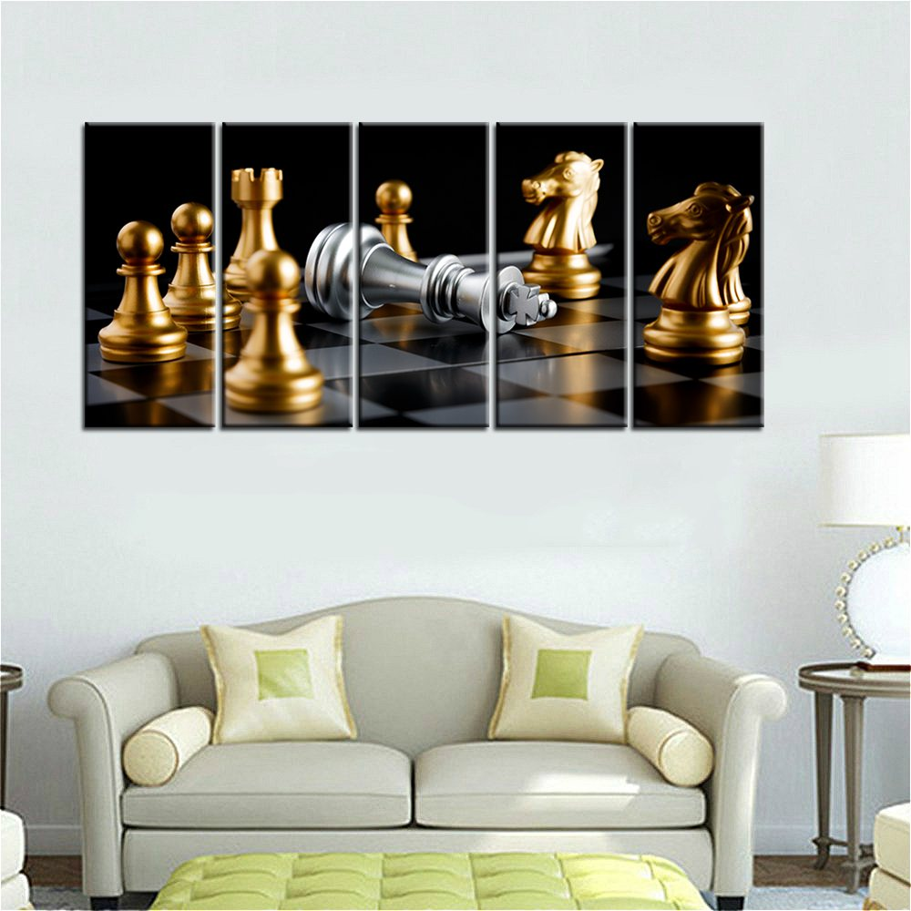 Golden Fashion Checkers Modular Chess Picture Painting Print on ...