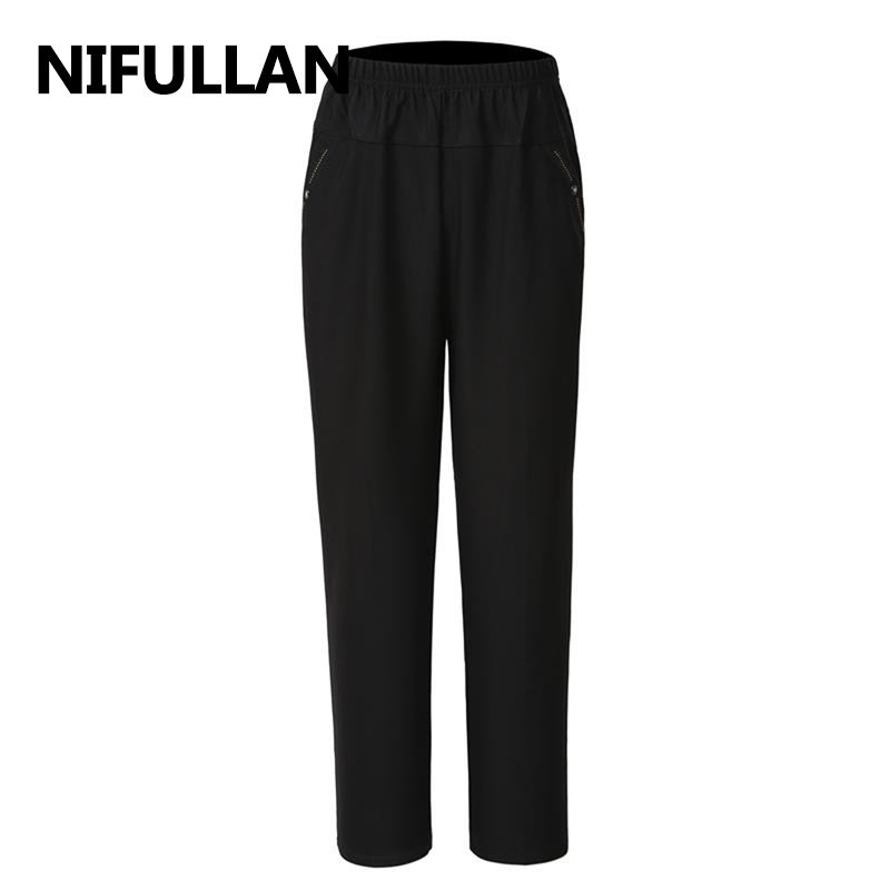 NIFULLAN Spring Summer Middle Age Women Pants Fashion Plus Size L-5XL Mother Clothing Elastic Waist Print Loose Casual Trousers