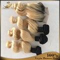 8а Бразильские Свободные Волновые Пучки 1B/613 Блондинка Человеческих Волос Ombre Свободная Волна 4 шт. Лот Девы Волос с закрытием