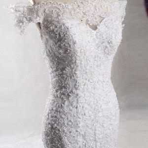 Image 2 - RSW903 Yiaibridal העבודה האמיתית פנינים ואגלי כבוי הכתף קצרה שרוולי בת ים שמלות כלה 2018