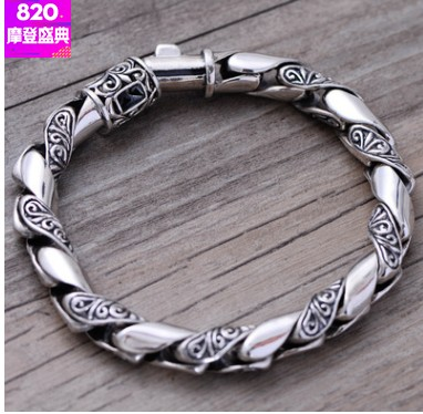 100% real 925 bracelets 8mm bohemian bracelet rope bracelet man 21cm 925 silver bracelet men 8mm 21cm long mens bracelets