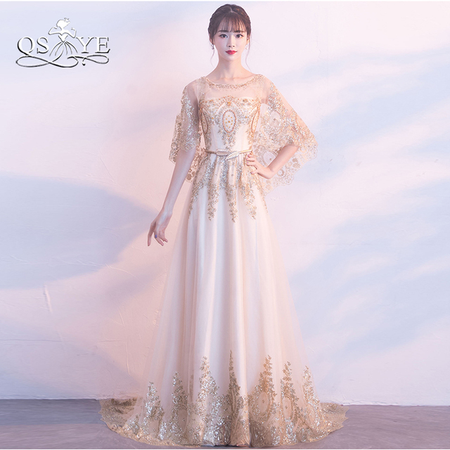 QSYYE 2018 New Long Prom Dresses Robe de Soiree Gold Lace Beaded Cape  Vintage Saudi Arabia Formal Evening Dress Party Gown 8091002eb856