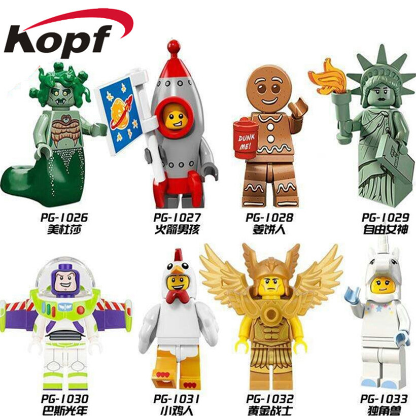Single Sale Building Blocks Gingerbread Man Medusa Rocket Boy Unicorn Girl Statue Of Liberty Figures Chidren Toys Gift PG8061