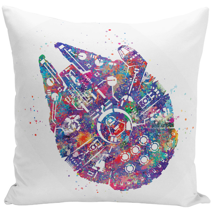 Watercolor Star Wars Printed Throw Pillowcase Cushion Cover Cartoon Cushion Case