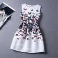 Девушки одеваются размер 6 ~ 19 лет печать летние платья для девочек в возрасте 13 14 15 16 цветочные сова без рукавов картина