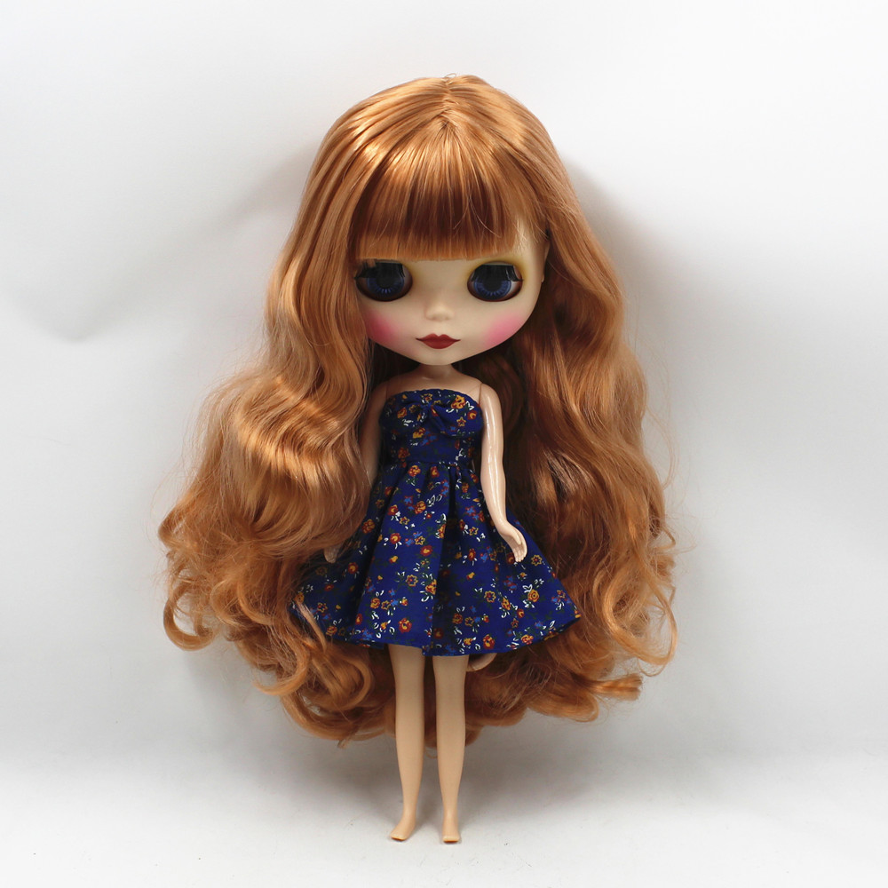 260BLKN1533 F8112S matte face brown curly long hair with bangs normal body nude doll suitable for