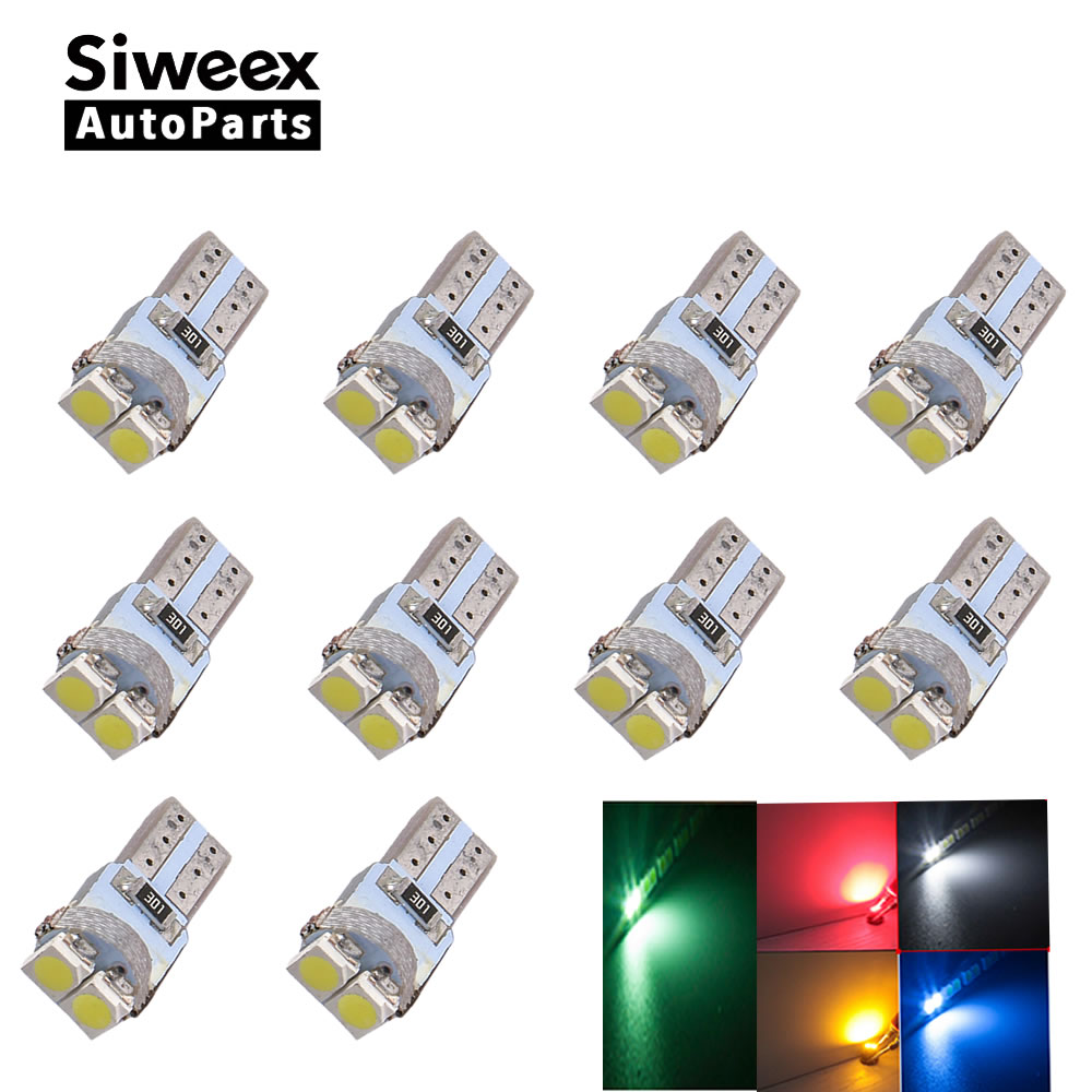 10pcs T5 LED Dashboard Instrument Indicator Light Speed Wedge 3528 LED 2SMD PC74 12V Car Lamp Bulb White Red Green Blue Yellow 5pcs lot led indicator light lamp pilot dash direction bulb dashboard panel instrument light car truck boat 5 color