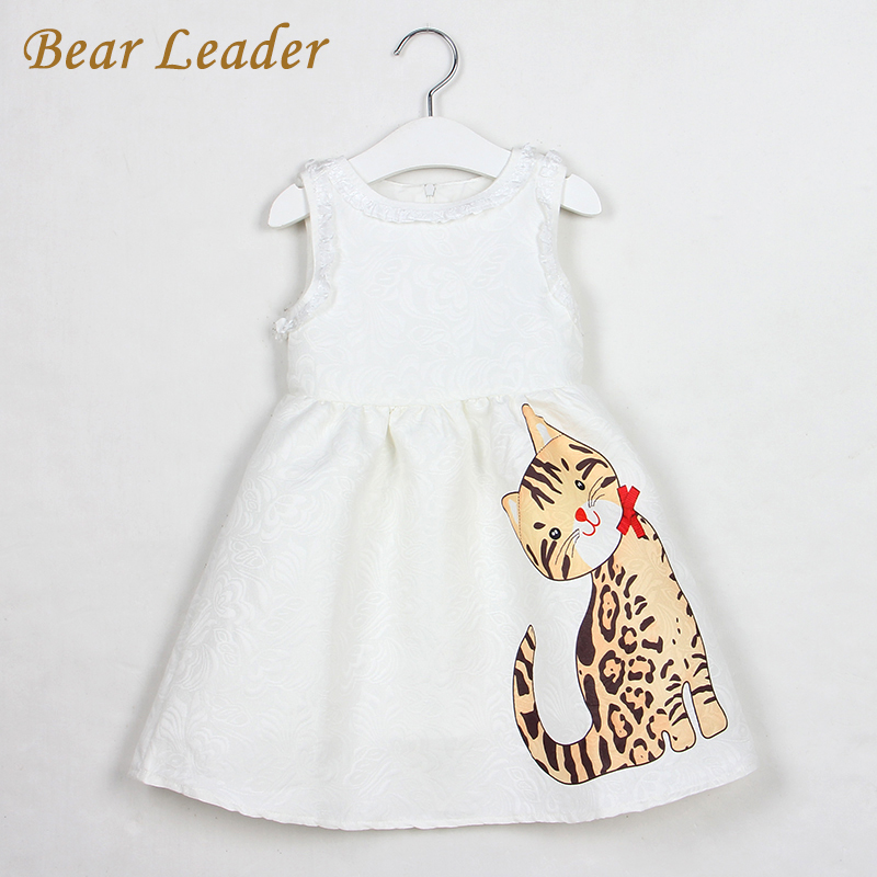 Bear Leader Girls Dress 2017 New Summer Style Baby Girls Dresses Sleeveless Lace Cartoon Cat Printing for Princess Dress 3-8year bear leader girls dress 2016 new summer style party dress stella the swallow embroidered sleeveless dress girls princess dress