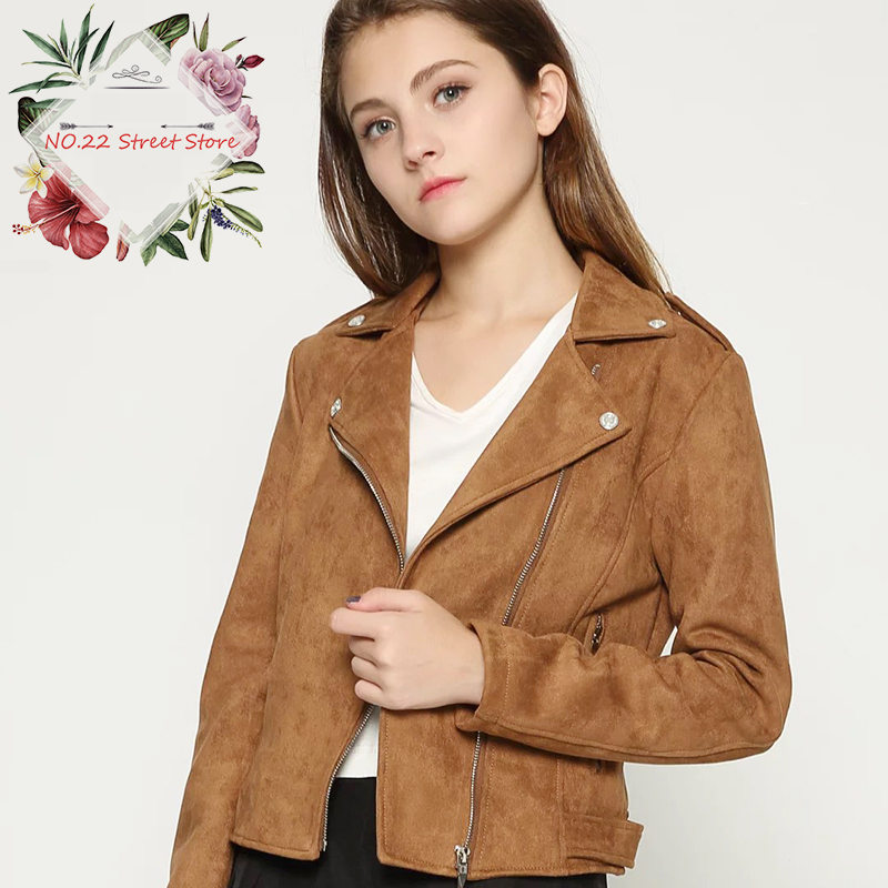 NO.22 Stree 2018 Women New   Suede   Faux   Leather   Jackets Autumn Spring Lady Fashion Matte Motorcycle Biker Bomber Jackets&Coats