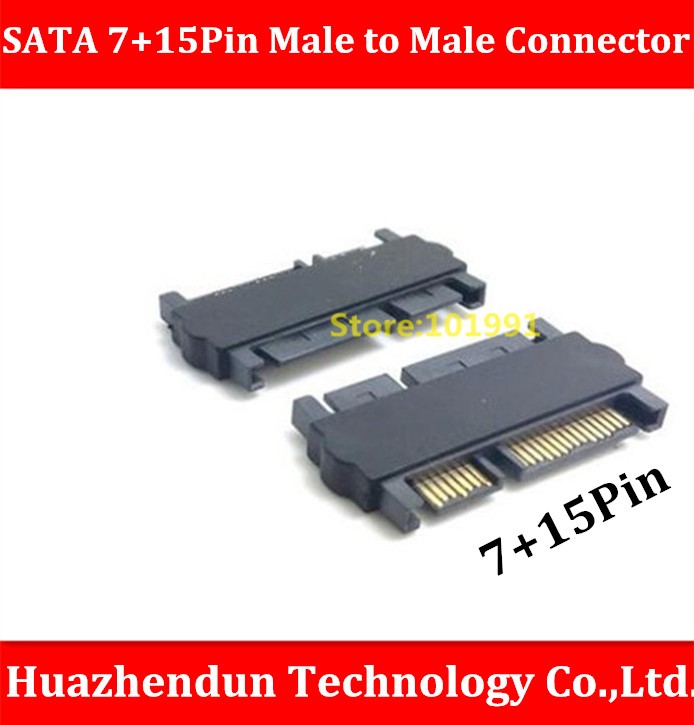 HOT SALE 2pcs-SATA 15+7 Pin Male to Male Connector Male to Male Pass-through connector Extension Connector SATA Connector