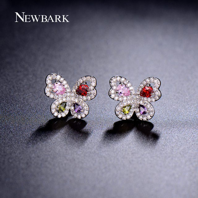 NEWBARK Small Butterfly Stud Earrings Paved Tiny Zircon Stone Multicolor Brinco Cute Fashion Bijoux Earring Jewelry Girls Gift