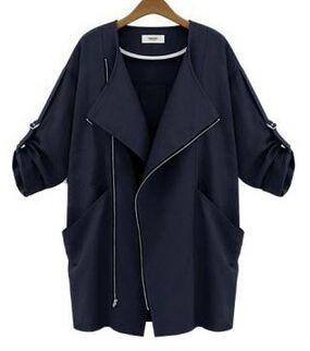 Senhoras primavera casacos casaco longo em um novo e elegante recortada mangas Coringa relaxado roupas Jaqueta casual das Mulheres