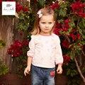 DB4372 dave bella spring baby girls pink cotton t-shirt heart printed tees  soft tops