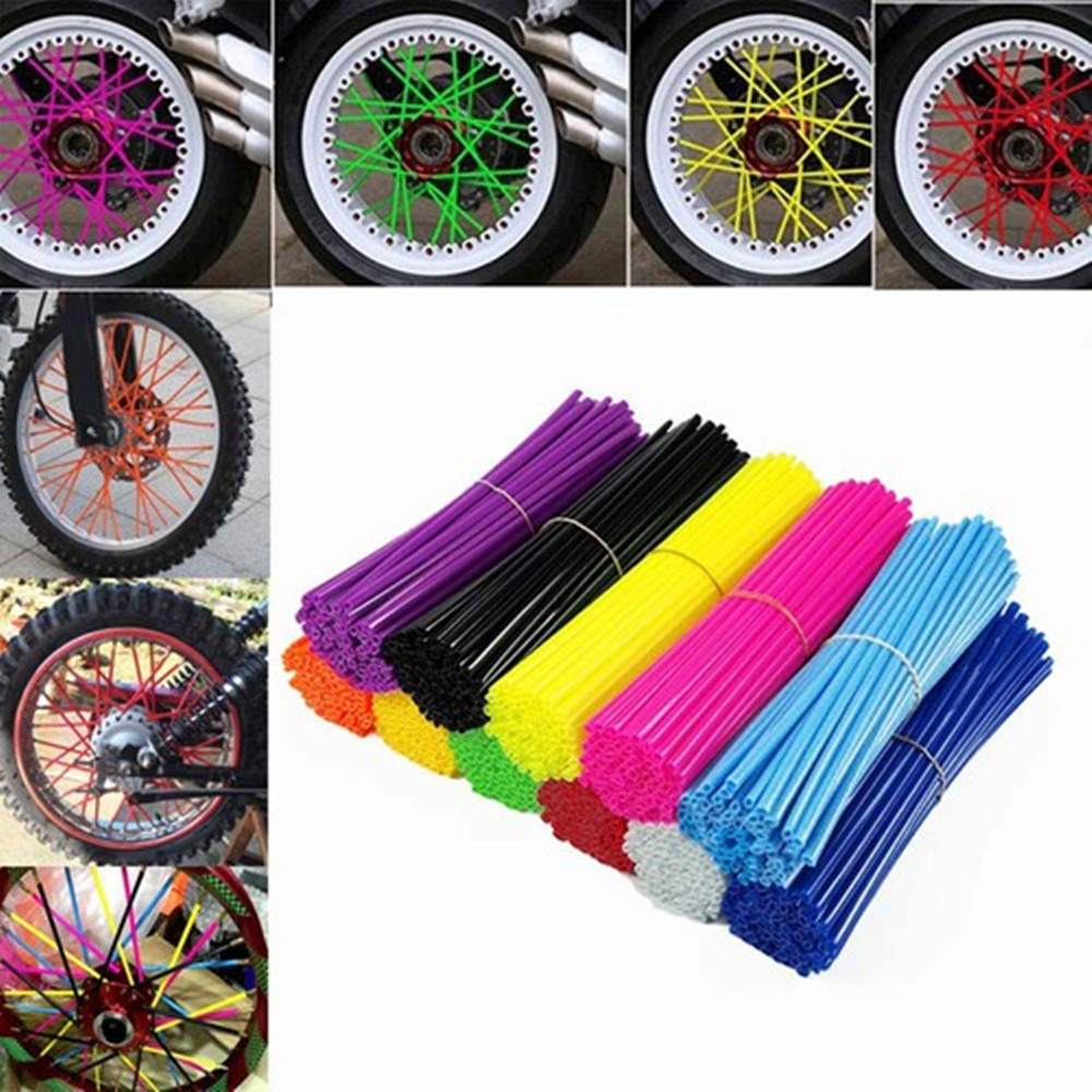 36Pcs/set Bike Motorcycle Dirt Decoration Motocross Wheel Spoke Wraps Rims Skins Protector Covers Decor Motorbike Decoration