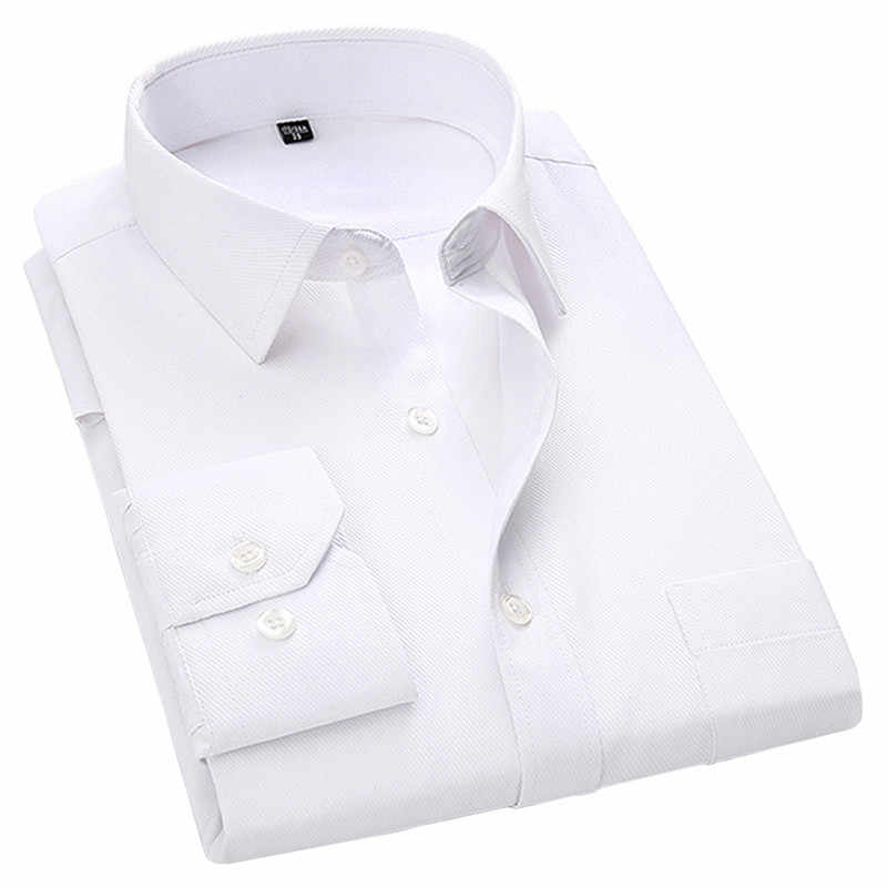 4XL 5XL 6XL 7XL 8XL Large Size Men's Business Casual Long Sleeved Shirt White Blue Black Smart Male Social Dress Shirt Plus