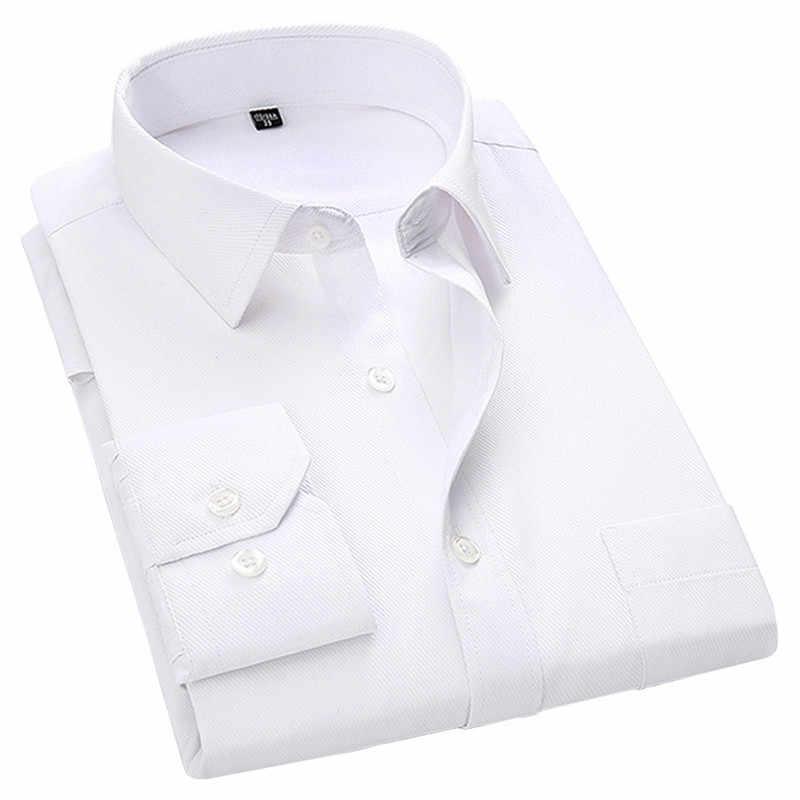 Мужская деловая рубашка с длинным рукавом, белая, синяя, черная, есть большие размеры 4XL, 5XL, 6XL, 7XL, 8XL, 2019