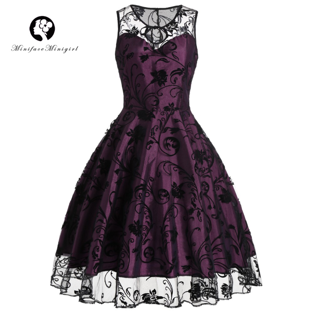 Minifaceminigirl Vintage Women 2018 Dress Retro Midi Sleeveless vestidos Elegant Summer Robe femme Purple Lace Party