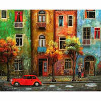 Painting By Numbers DIY Dropshipping 40x50 50x65cm car under the build Landscape Canvas Wedding Decoration Art picture Gift
