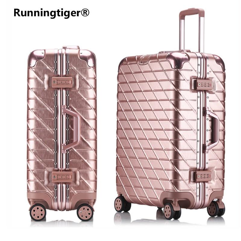 20''22''24''26''29'' Klassische Aluminium Rahmen Roll Gepäck Tsa Lcok Reise Koffer Mit Rädern Spinner Trolley Frau Koffer