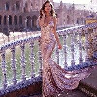Verngo Sequined Evening Dress 2019 Pink Mermaid Dress Sexy V Neck Long Dress Vestido De Festa Longo