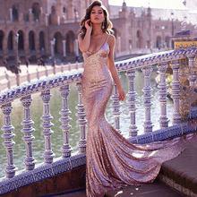 Женское вечернее платье Русалка verngo розовое длинное с блестками