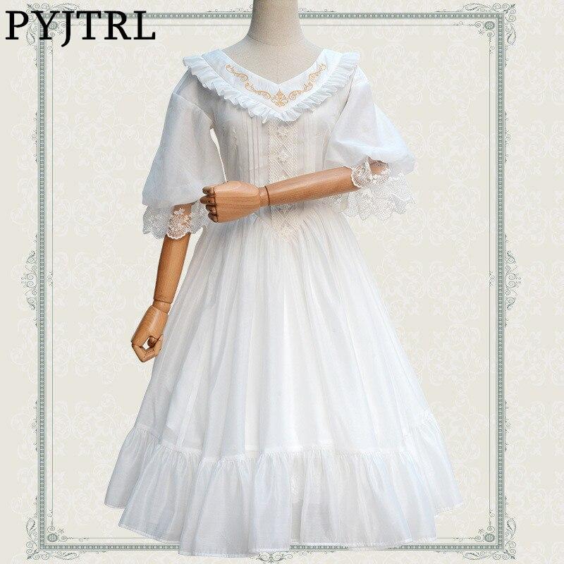 PYJTRL 2017 D'été Classique Élégant Noir Blanc Lolita Doux Col en V Or Brodé En Mousseline de Soie Robe Pour Femmes Costumes Médiévaux