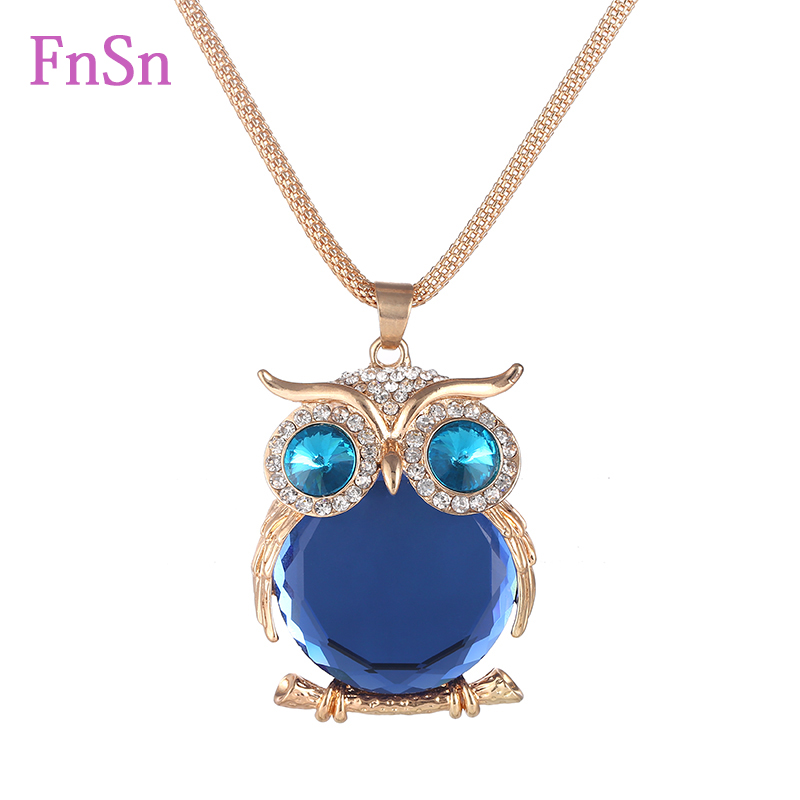 Fashion Womens Necklaces Jewelry Trendy Charms Crystal Owl Necklace Gold Long Chain Animal Necklaces&Pendants 2016 Hot Sale Ожерелье