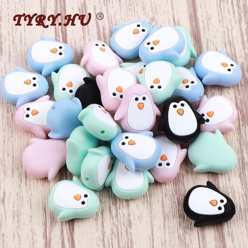 TYRY.HU 2pc Penguin Animal Silicone Beads Food Grade Cartoon Teether BPA Free Baby Teething Toys DIY Pacifier Chain Accessories