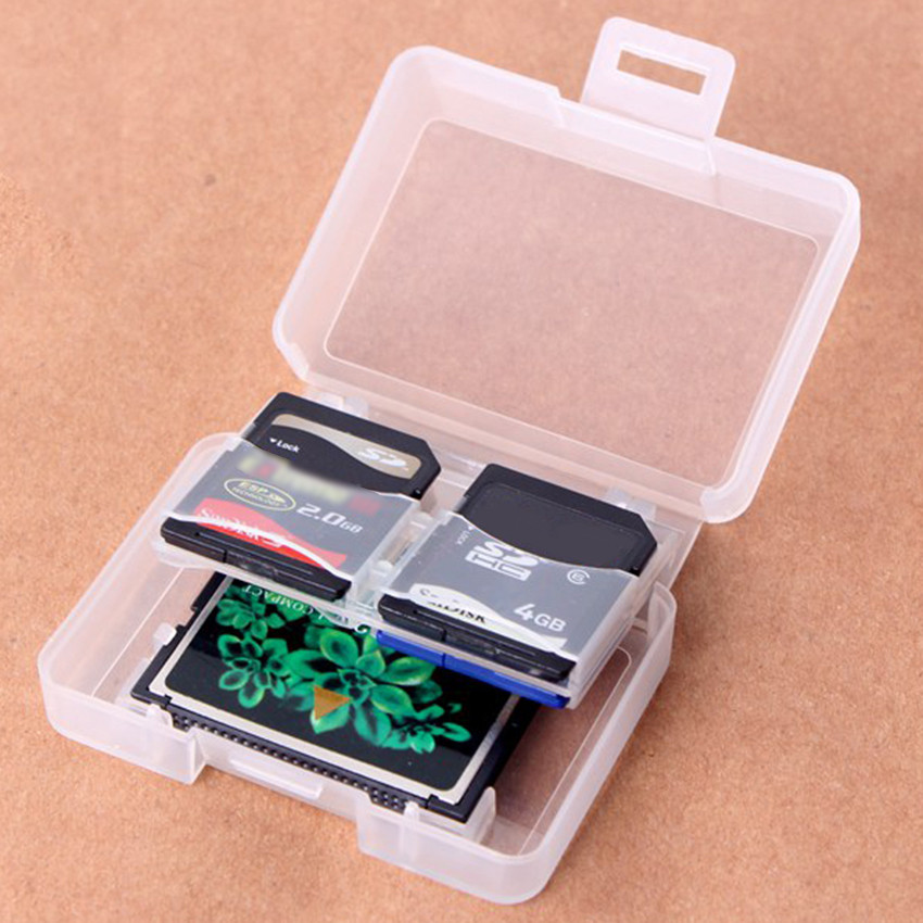 1 PC Clear Plastic Memory Card Case Holder for 4 SD 1 CF Card Storage Box Backpacker