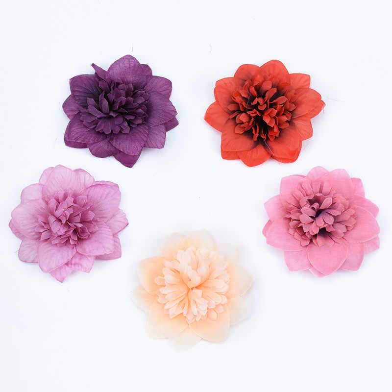 7 סנטימטר משי ורדים ראשי חג המולד קישוטים לבית חתונה כלה אביזרי אישור צמחים מלאכותיים מזויף פלסטיק פרחים