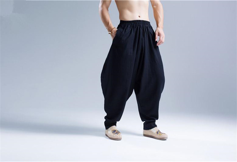 Pantalon Shenzhen noir lin et coton