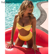 TeLaura 2018 Sexy High Waist Bikini Women Swimsuit Push Up Swimwear Knot Bikini Set Summer Beachwear Biquini Bathing Suit Solid