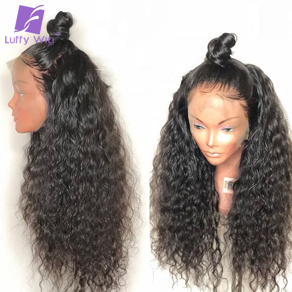 Curly Human Hair Wig Glueless pre plucked Full Lace Wigs With Baby Hair Bleached Knots Brazilian Non remy Hair for Women Luffy