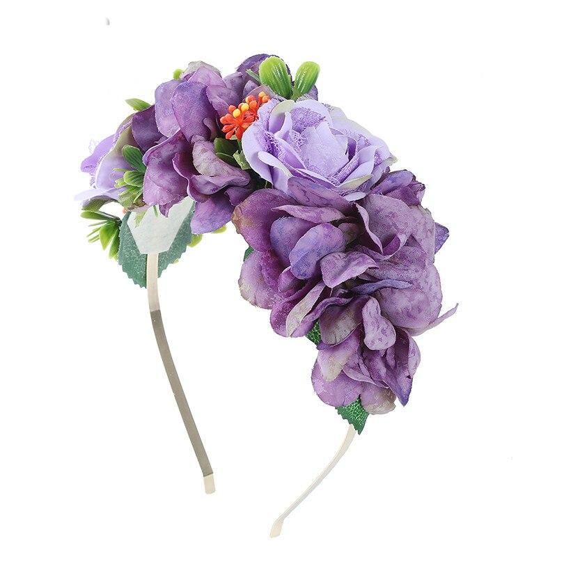 Haimeikang Cute Clovers Flower Garland Head Bezel Hairband For Girls Women Fabric Flowers Crown Headband Hair Accessories