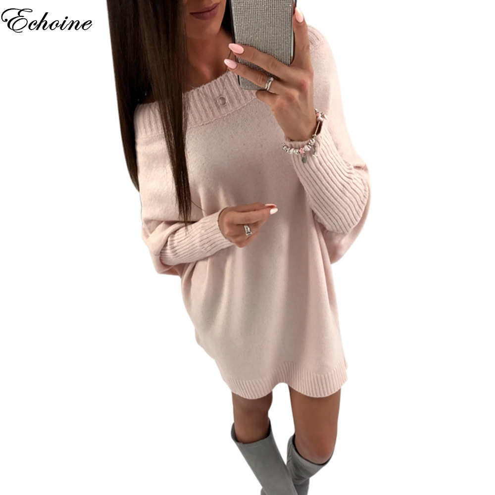 Echoine New Autumn Winter Off Shoulder Batwing Long Sleeve Knitted Dress Slash Neck Loose Casual Mini Dresses Women Clothing цена и фото