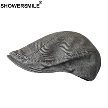 SHOWERSMILE Casual Men Flat Cap Summer Linen Beret Hat Male Plaid Grey Houndstooth Breathable Caps Brand Duckbill Driving Hats